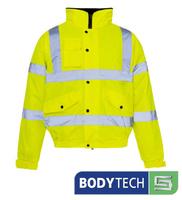 Bodytech HiViz Bomber Jacket, Yellow C/W KN Logo