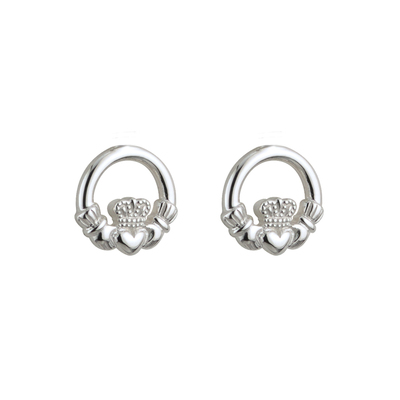 STERLING SILVER KIDS CLADDAGH STUD EARRINGS(BOXED)