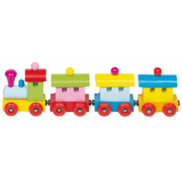 Brightly coloured wooden toy train with magnetic couplings
