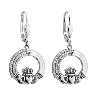 S/S TRIPLE LINE CLADDAGH DROP EARRINGS