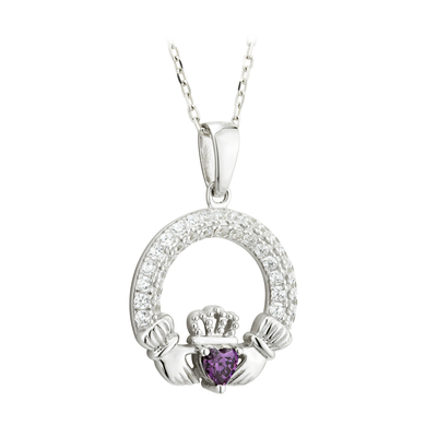 CLADDAGH AMETHYST PENDANT (FEBRUARY BIRTHSTONE) (BOXED)
