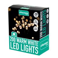 KINGFISHER 200 BRIGHT WHITE MULTI ACTION LED CHRISTMAS LIGHTS
