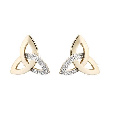 10K DIAMOND TRINITY KNOT EARRINGS