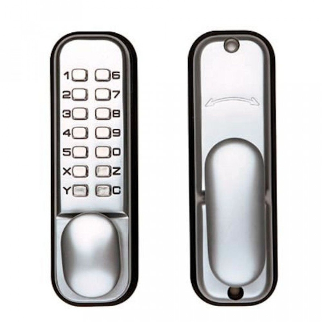 Wondrous Tessi Digital Push Button Lock Satin Chrome Interior Design Ideas Ghosoteloinfo