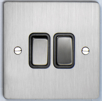 DETA Flat Plate 2gang switch Satin Chrome with Black Insert | LV0201.0161