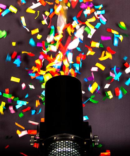 confetti exploding from machine