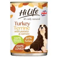 HiLife 'ION' Dog Can Turkey Terrine with Potato & Carrots 395g x 6