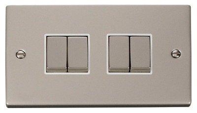 Click Deco Victorian Pearl Nickel with White Insert 4 Gang 2 Way 'Ingot' Switch | LV0101.0127