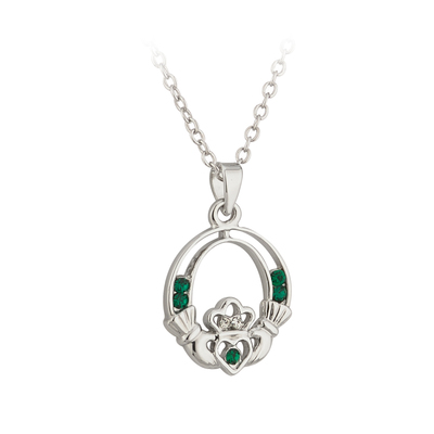 SILVER PLATED CRYSTAL CLADDAGH PENDANT
