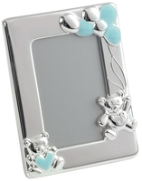 Silver Plated Teddy Bear Picture Frame (Blue)
