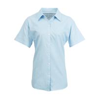 Ladies Premier Short Sleeve Blouse Light Blue