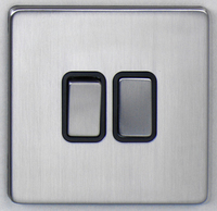 DETA Screwless 2 Gang Switch Satin Chrome Black Insert | LV0201.0425