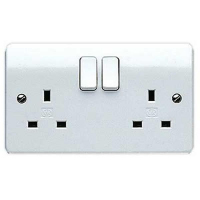 MK Logic Plus Socket Switched 2 Gang DP 13A (White)