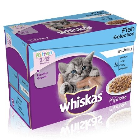 Whiskas 2-12 month Kitten Fish Selection in Jelly 4 x 12 x 100g