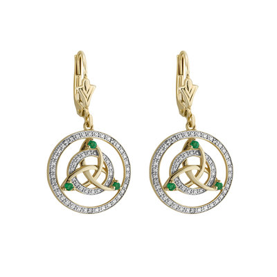 14K White & Yellow Gold Diamond & Emerald Celtic Knot Drop Earrings s34112 from Solvar