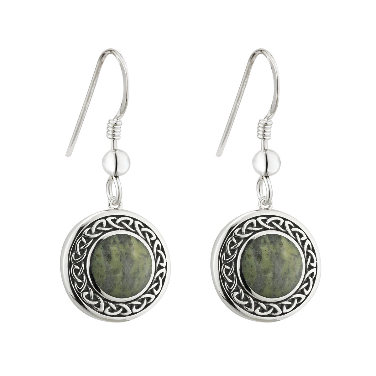 sterling silver connemara marble round celtic drop earrings s33772 from Solvar