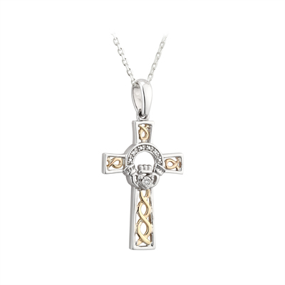 SILVER 10K GOLD & DIA CLADDAGH CROSS PENDANT(BOXED)