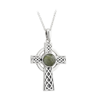 STERLING SILVER MARBLE CROSS PENDANT