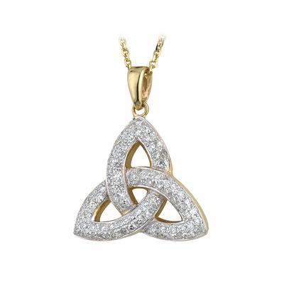 14K MICRO DIAMOND TRINITY PENDANT