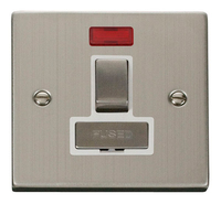 Click Deco Victorian Stainless Steel with White Insert Switch Fused Spur with Neon | LV0101.0110
