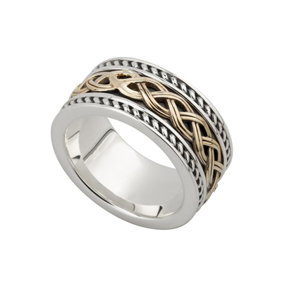 GENTS 10K GOLD & SILVER CELTIC KNOT RING (BOXED)