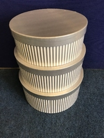 HAT BOX SILVER STRIPE SET OF 3 BOXES **AVAILABLE NOVEMBER**