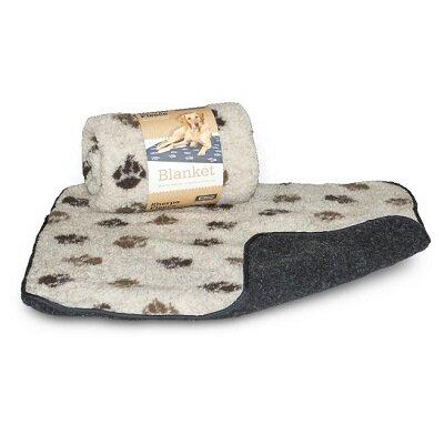 Danish Design Fleece Beige Brown Paw Blanket 1.52 x 1.27m