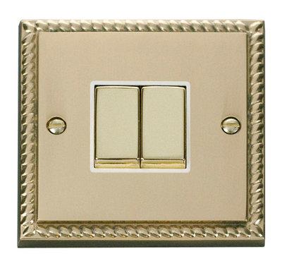 Click Deco Georgian Cast Brass with White Insert 2 Gang 2 Way 'Ingot' Switch   LV0101.0053