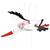 Charming wooden stork and baby mobile for above a crib