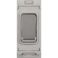 Schneider Ultimate Grid retractive switch mirror steel with White surround|LV0701.1056