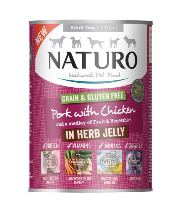 Naturo Adult Dog Cans Pork & Chicken in Herb Jelly 390g x 12