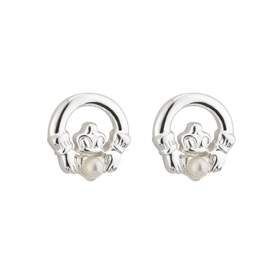 RHODIUM PLATED PEARL CLADDAGH EARRINGS