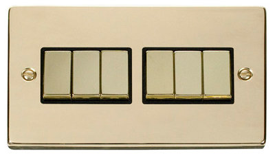 Click Deco Victorian Polished Brass with Black Insert 6 Gang 2 Way 'Ingot' Switch | LV0101.0176