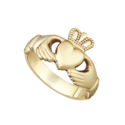 9K HEAVY LADIES CLADDAGH RING