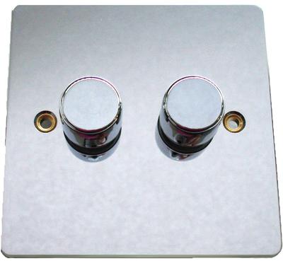 DETA Flat Plate 2gang Dimmer Chrome   LV0201.0290
