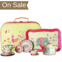 Play tin tea set in a mini suitcase