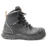 Bison Extreme Ankle Lace Up Safety Boot with Scuff Cap Black
