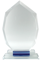 23cm Crystal Plaque with Blue (Satin Box)