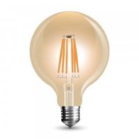 8w G125 LED Filament Bulb E27 Amber Glass 2200K