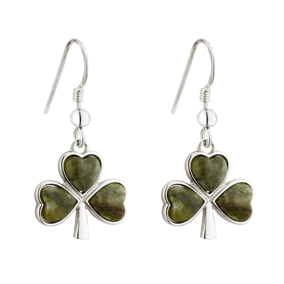 RHODIUM CONNEMARA MARBLE SHAMROCK EARRINGS