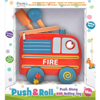 Wooden toddler fire engine push and roll toy