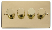 Click Deco Victorian Polished Brass 4 Gang 2 Way Dimmer  | LV0101.1812