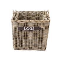 Premium Square Wicker Log Basket (2pce Set W50Xd50Xh45/56)