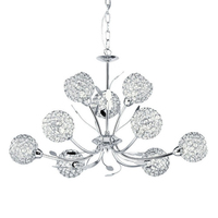 Bellis Ii Chrome 9 Light Fitting With Clear Glass Shades