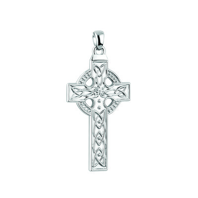 14K WHITE GOLD LARGE CELTIC CROSS CHARM