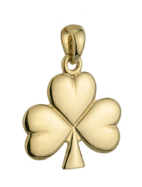 14k gold shiny shamrock charm large s8135 from Solvar