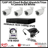 4 Camera CCTV 720p Fixed Bullet Kit - White