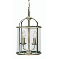Fern 2 Light E27 Lantern Antique Brass