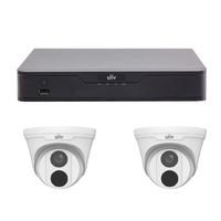 Uniview 4CH 1TB PoE 4K NVR and 2 x 4MP Eyeball Turret Cameras