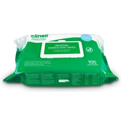 Clinell Hand & Surface Disinfection Wipes Pk100 - DMI Dental Consumables Ireland - Next Day Delivery